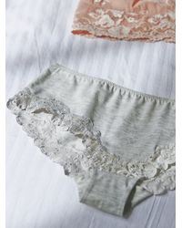 Free People - White Cotton Lace Trim Hipster - Lyst
