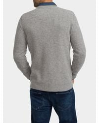 White + Warren Gray Mens Cashmere Thermal Crewneck for men