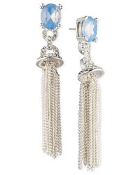 Anne Klein | Metallic Rose Gold-tone Stone And Crystal Tassel Drop Earrings | Lyst