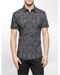 Calvin Klein | Gray White Label Slim Fit Micro Dot Print Short Sleeve Shirt for Men | Lyst