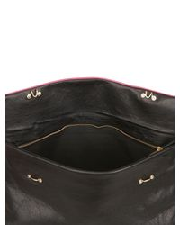 Golden Lane - Pink Crocodile Print Metallic Leather Clutch - Lyst