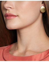 Brooks Brothers | Metallic Gold Hammered Button Earrings | Lyst