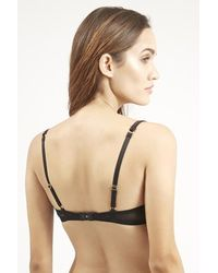 TOPSHOP Black Satin And Lace Underwire Bra