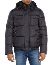 Cole Haan - Black Hooded Puffer Jacket for Men - Lyst