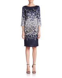 St. John - Blue Floral Silk Dress - Lyst