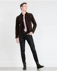 Zara | Brown Fringed Jacket for Men | Lyst