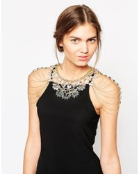 Little Mistress Metallic Statement Necklace With Shoulder Chain Details