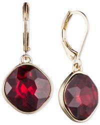 Nine West - Metallic Gold-tone Red Stone Drop Earrings - Lyst