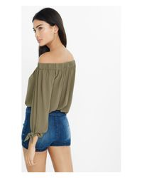 Express Green Off The Shoulder Tie Sleeve Blouse