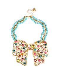 Betsey Johnson - Metallic Antique Goldtone Multicharm Bow Frontal Necklace - Lyst