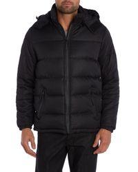 Bellfield - Black Padded Full Zip Hooded Bomber Jacket for Men - Lyst