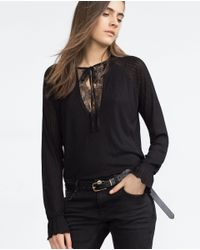 Zara | Black Top With Lace Detail | Lyst