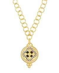 Freida Rothman | Green Short Pendant Necklace W/ Clover Center | Lyst