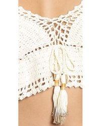 She Made Me   Crochet Frill Bikini Top - Natural   Lyst