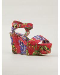Dolce & Gabbana | Red Wisteria Print Brocade Wedge Sandals | Lyst
