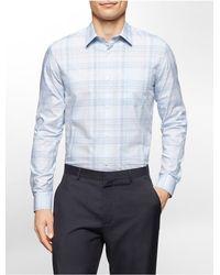 Calvin Klein - Blue White Label Classic Fit Refined Plaid Cotton Shirt for Men - Lyst