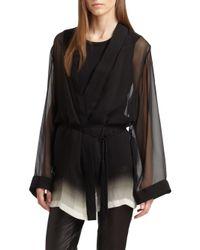 Ann Demeulemeester | Black Silk Wrap Blouse | Lyst