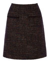 Warehouse Multicolor Tweed Pocket Detail Skirt