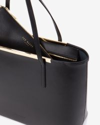 Ted Baker - Black Large Crosshatch Leather Shopper Bag - Lyst