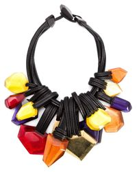 Monies | Black Facet Pendant Necklace | Lyst