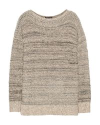 Vince | Brown Marled Cotton-Blend Sweater | Lyst