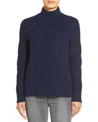 Nordstrom Collection - Blue Mock Neck Patterned Cashmere Sweater - Lyst