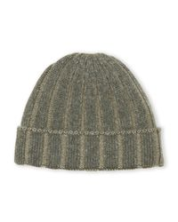 Sofia Cashmere - Green Ribbed Cashmere Beanie for Men - Lyst