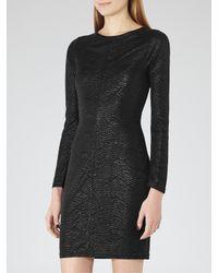 Reiss Black Abellia Textured Bodycon Dress
