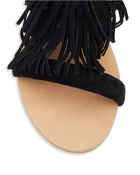 Steve Madden Black Leather Fringe Sandal