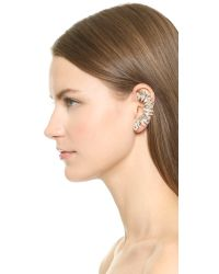 Adia Kibur Multicolor Crystal Left Ear Crawler & Stud - Clear