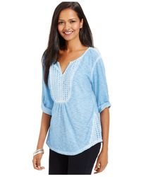 Style & Co. | Blue Crocheted Peasant Top | Lyst