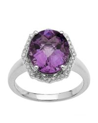 Lord & Taylor | Purple Sterling Silver Light Amethyst And Diamond Ring | Lyst