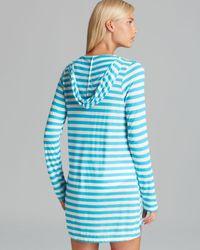 Ella Moss Blue Cabana Stripe Hoodie Swim Cover Up