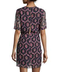 Isabel Marant - Blue Printed Knot-waist Half-sleeve Dress - Lyst
