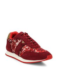 Tory Burch | Red Pettee Mixed-media Sneakers | Lyst