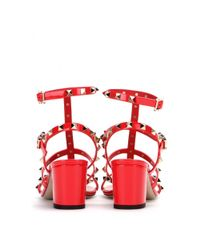 Valentino Orange Rockstud Patent Leather Sandals