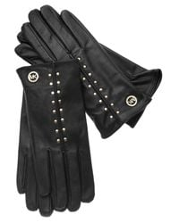 Michael Kors | Black Michael Leather Astor Studded Gloves | Lyst