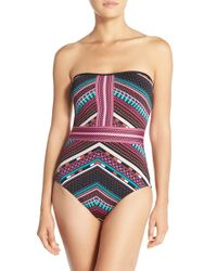 Laundry by Shelli Segal Green 'shangri-la' Bandeau One-piece Swimsuit