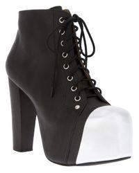 Jeffrey Campbell Black Lita Cap Toe Ankle Boots