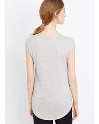 Vince - Metallic Twisted Neck Cap Sleeve Mouline Tee - Lyst