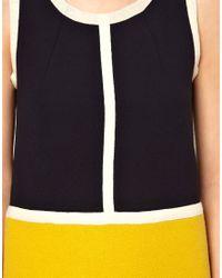 Orla Kiely Black Sleeveless Wool Tunic in Colour Blocks