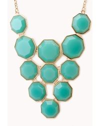 Forever 21 - Blue Geo Girl Faux Stone Necklace - Lyst