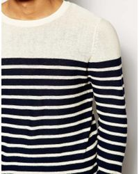 SELECTED - Black Sweater with Breton Stripe for Men - Lyst