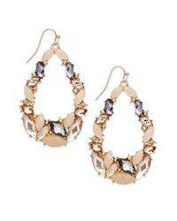 INC International Concepts | Natural Goldtone Blush and Black Diamond Stone Teardrop Earrings | Lyst