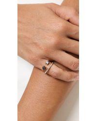Vita Fede Metallic Ultra Mini Titan Stone & Crystal Ring - Black/White/Rose Gold