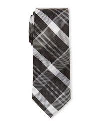Pierre Cardin - Gray Silk Plaid Slim Tie for Men - Lyst