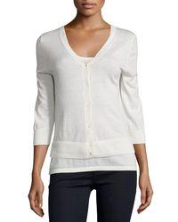 Neiman Marcus | White Modern Cashmere Superfine V-neck Cardigan | Lyst
