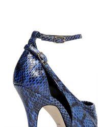 Alexander Wang Blue Carolyn Cutout Python Peep-toe Pumps