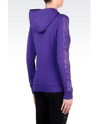 EA7 | Purple 7 Lines Full Zip Hooded Sweatshirt | Lyst
