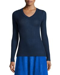 Elie Tahari | Blue Remmi Long-sleeve Ribbed Sweater | Lyst